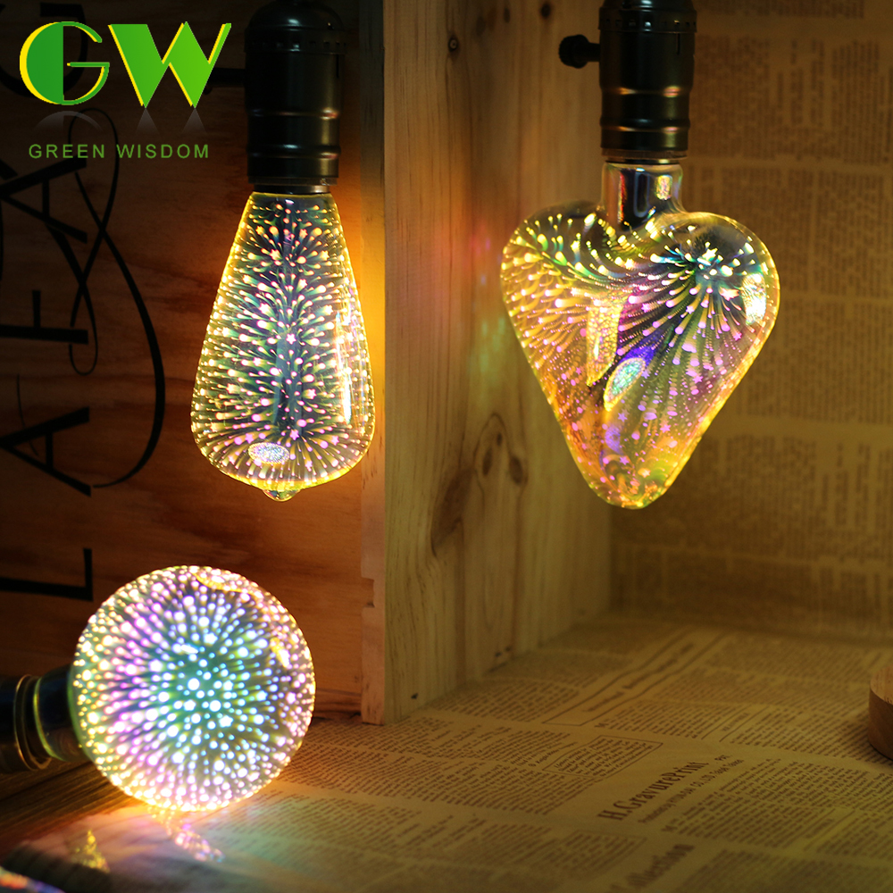 3D Fireworks Effect LED Bulb 220V E27 4W Vintage Incandescent Bulb Copper Wire Decorative Light for Holiday Christmas Decoration