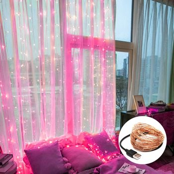 LED Curtain Lights Garland Curtain Lamp USB String Fairy Lights Christmas Decorations for Home Bedroom Window 3M 5M heart led curtain lights 1 5m 5t ip44 waterproof string lights for wedding valentine s day home window wall decoration d30