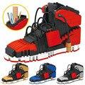 Спортивная баскетбольная обувь, строительные блоки, модели кроссовок, контейнер для ручек, сделай сам, мини-кирпичи, пенал, игрушки для дете...