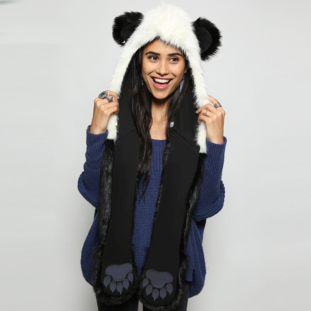 2019 Winter Fashion Warm Panda Animal Faux Fur Hat Scarf Mittens Ears And Paws Cap Scarf Shawl Gloves Sets PC187