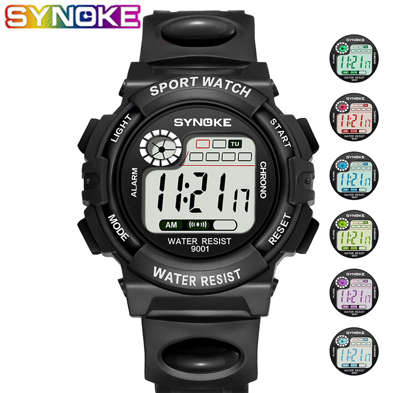 SYNOKE Fashion Children Watches Kid Boy Girl Digital LED Quartz Alarm Date Sports Wrist Watch Relogio Masculino Horloges Mannen