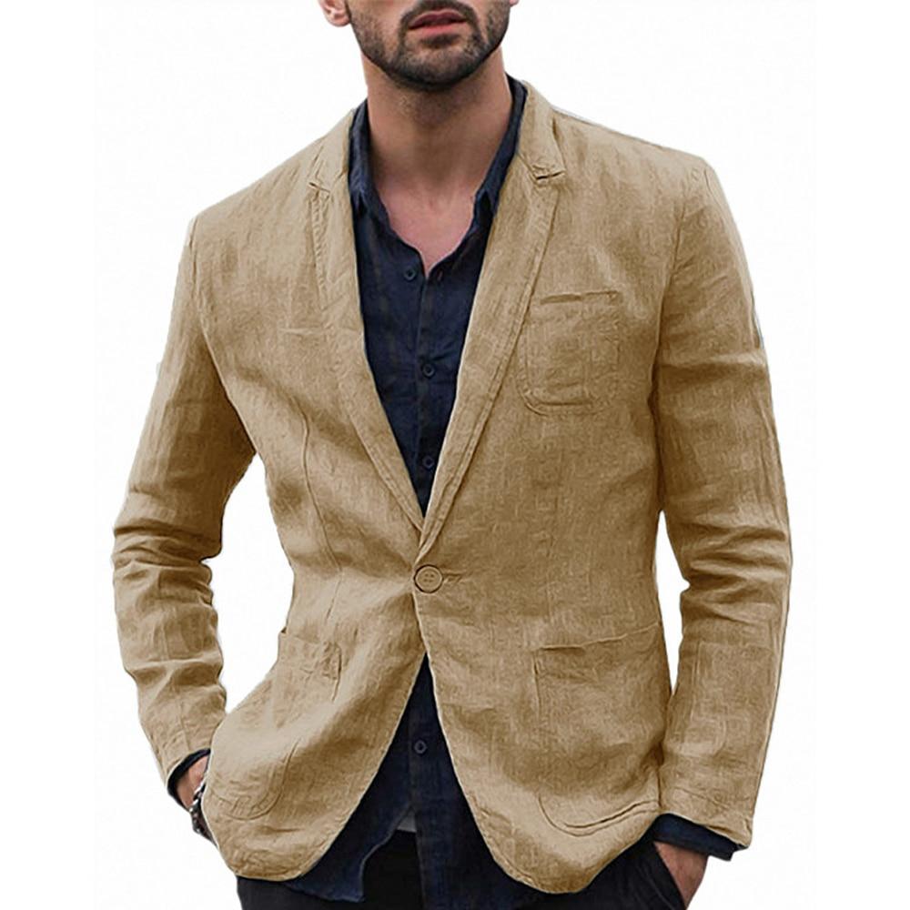 Men's Stylish Casual Linen Blazer Jacket One Button Lightweight Groomsmen Tuxedo Jacket For Beach Wedding Business Wear