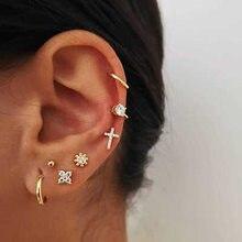 Ocidental estilo feminino punk cruz brincos conjunto de combinação com clipe de ouvido de zircão banhado a ouro 7 peças conjunto