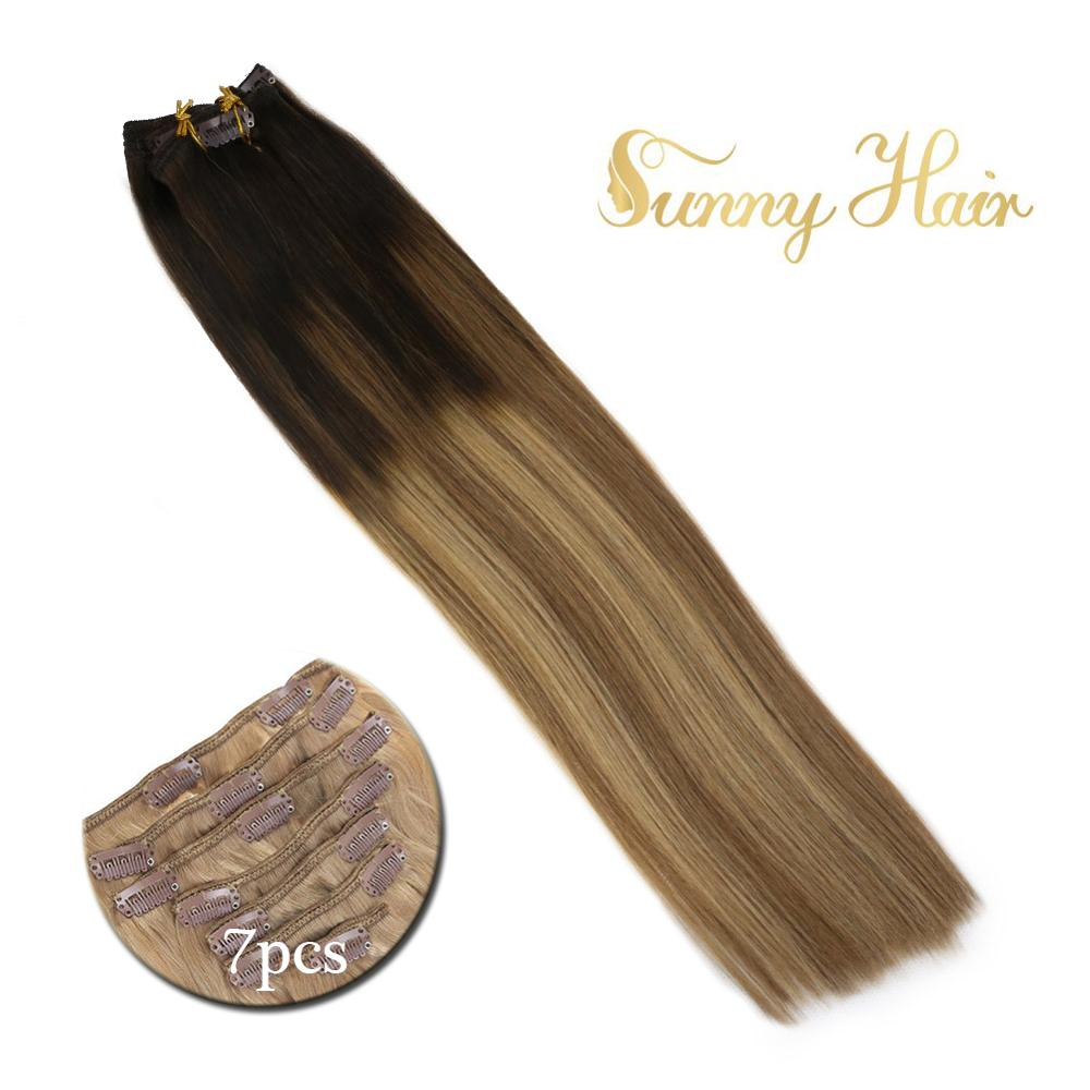 VeSunny Double Weft Clip In Hair Extensions Real Human Hair 7pcs 120gr Clip On Hair Balayage Ombre Brown Mix Caramel #2/6/27
