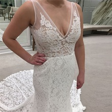 Illusion Lace Wedding Dresses Sexy V-neck Sleeveless Long Bridal Gowns Mermaid Style Court Train Robe De Mariee Custom Made long white mermaid v neck open back lace court train sexy vintage formal wedding dresses fashion wedding gowns custom made