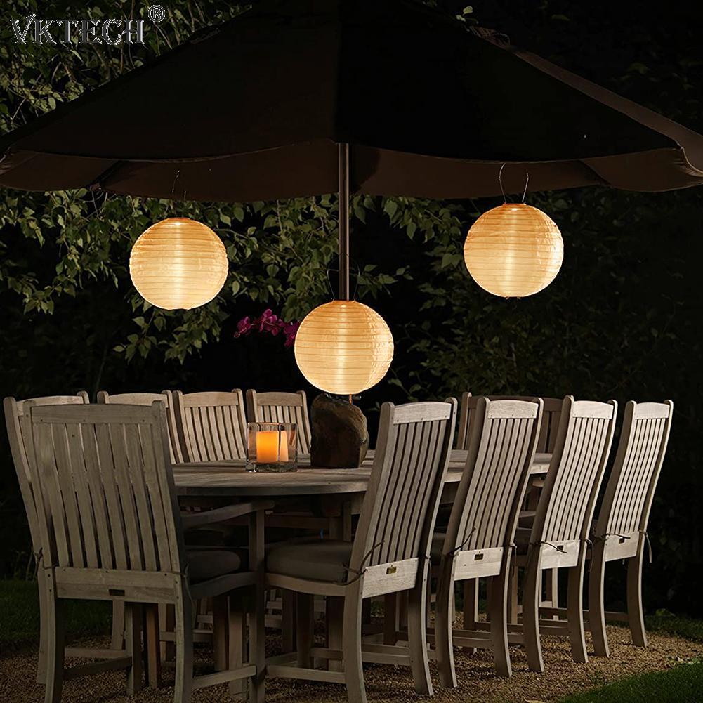20/25/30cm LED Solar Light Chinese Lantern LED Solar Lantern Lamp Waterproof Outdoor Festival Party Decorative Hanging Light