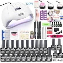 Lampe à LED et UV pour manucure, appareil électrique pour le soin des ongles, ensemble avec vernis gel et lime, outils pour le stylisme ongulaire, 120W