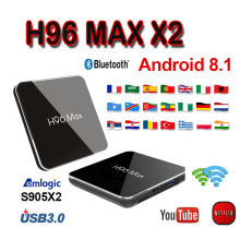 Box tv Netherlands H96 MAX X2 android8.1 box 4GB 64GB H.265 1080P Smart TV X96 Quad core S905X2 youtube set top