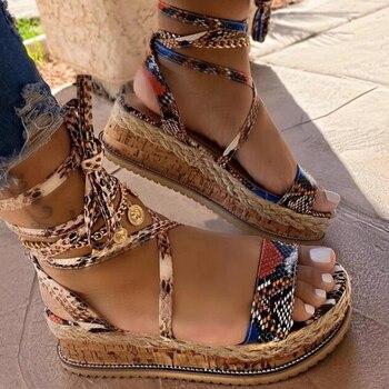 Women Summer Sandals Female Bowknot Platform Bohemia High Heel Sandals Fashion Ankle Strap Open Toe Ladies Shoes