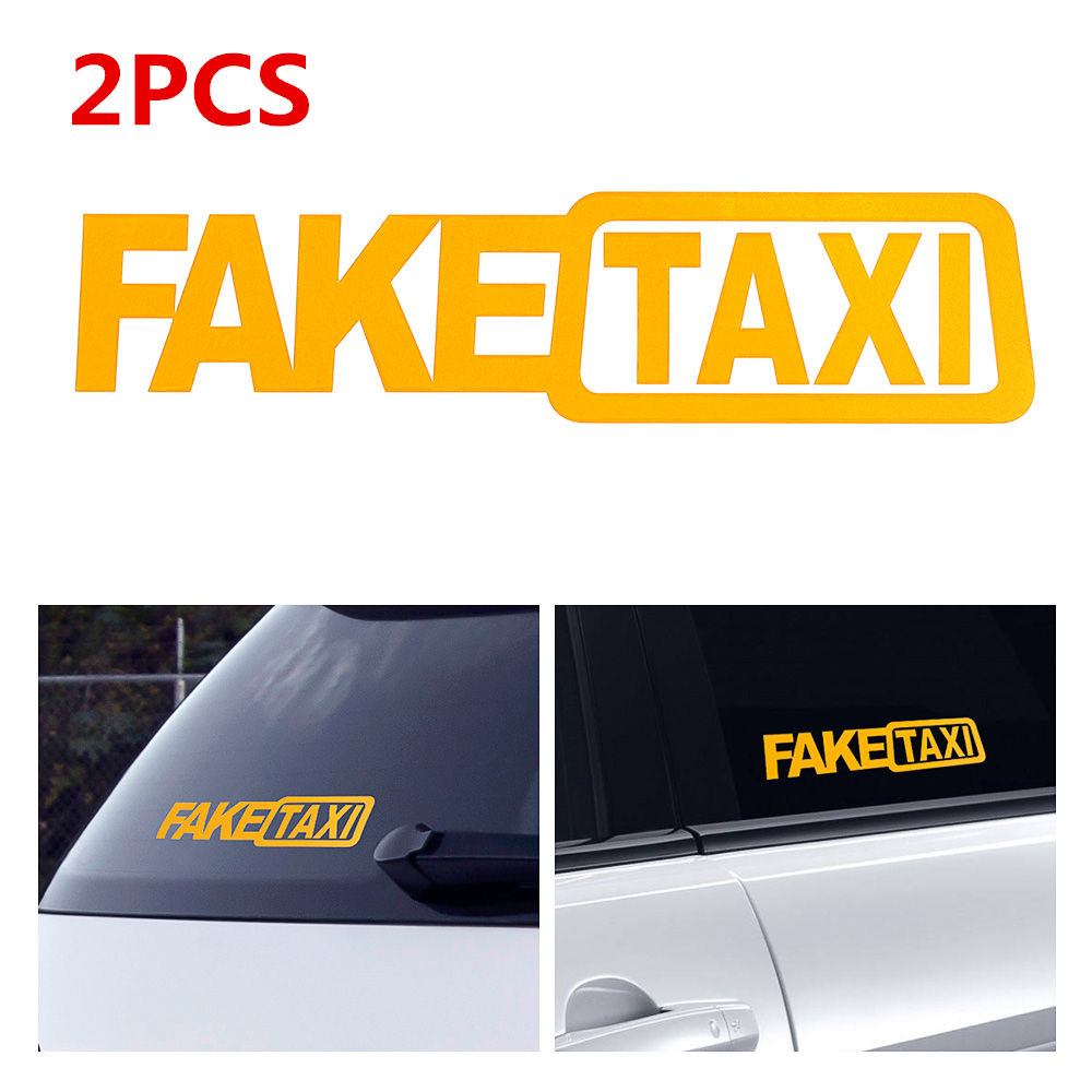 2Pcs FAKE TAXI Car Stickers Reflective Stickers Funny Window Vinyl Decals Car Styling Self Adhesive Emblem Car Stickers
