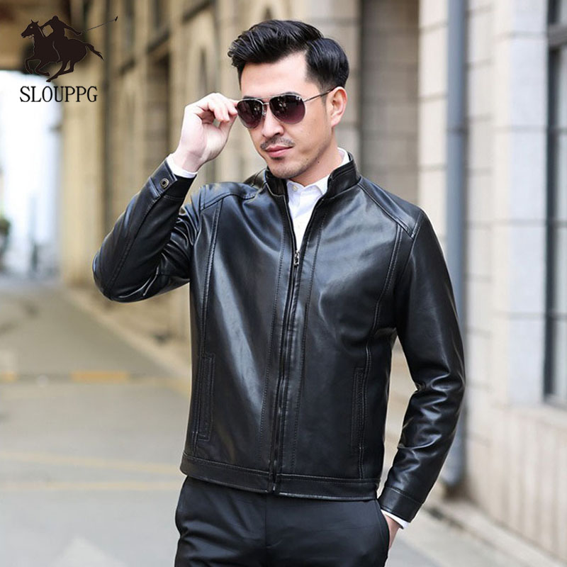 Spring Autumn Motorcycle Leather Jacket Men Slim Fite Zipper PU Jacket Men's Leather Jackets Motorcycle Stand Collar PU Leather