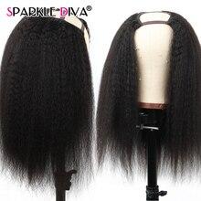 Middle Part Kinky Straight Hair Wig U Part Wig Brazilian Human Hair Wigs 150% Density Remy Headband Human Hair Wigs For Women