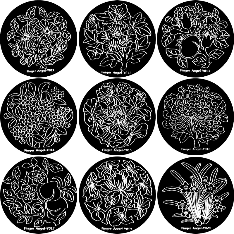 1pcs Nail Art Stamp Plate 5.6cm Round Flower Leaf Pattern Stamping Image Plate Blue Film Template Decor DIY Nail Stamping Plaque