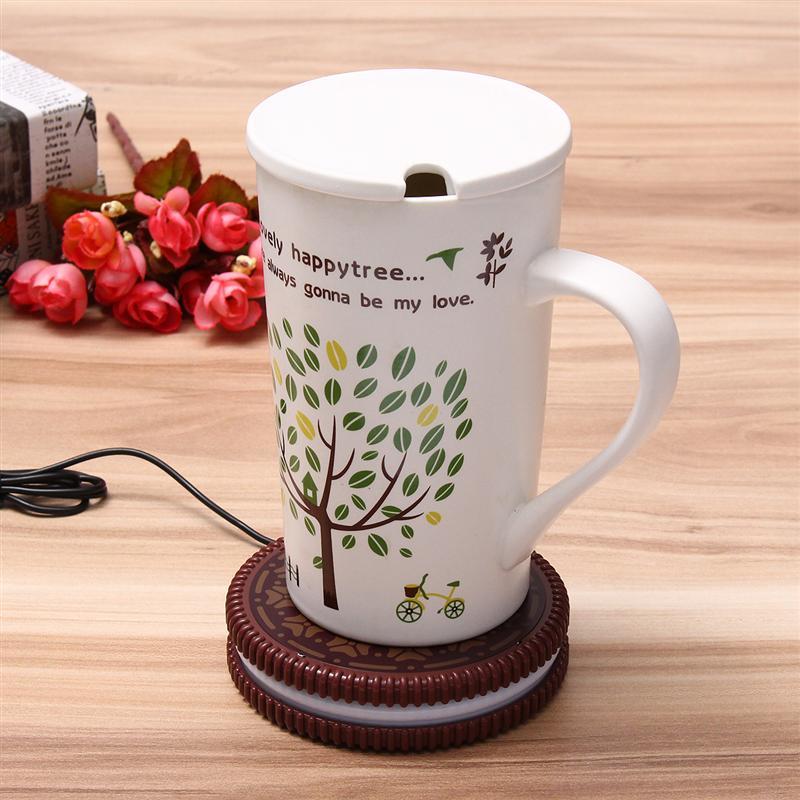 Mat Cup Warmer Milk Heater Coffee Mug Drink Coaster Tea Insulation USB Mug Heating Pad COOKIE Design Cup For Car