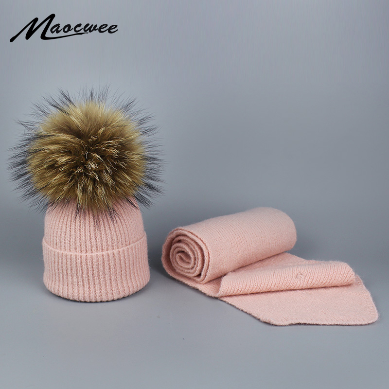 Scarf Hat Sets Woman's Hat Children Autumn Winter Warm Thick Stretchy Knit Fur PomPon Beanie Skullies Cap For Boys And Girls