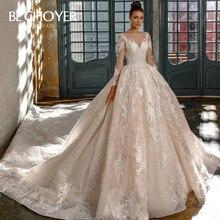 Luxe à manches longues Appliques robe de mariée BECHOYER N201 chérie robe de bal chapelle Train princesse robe de mariée Vestido de Noiva
