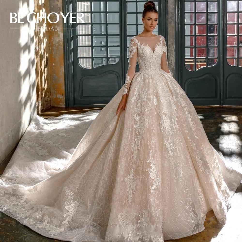 Luxury Long Sleeve Appliques Wedding Dress BECHOYER N201 Sweetheart Ball Gown Chapel Train Princess Bride Gown Vestido De Noiva