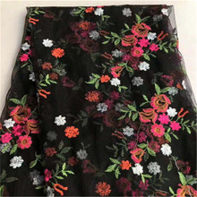 New mesh bottom color rose embroidered fabric womens wear skirt wedding dress curtain decoration
