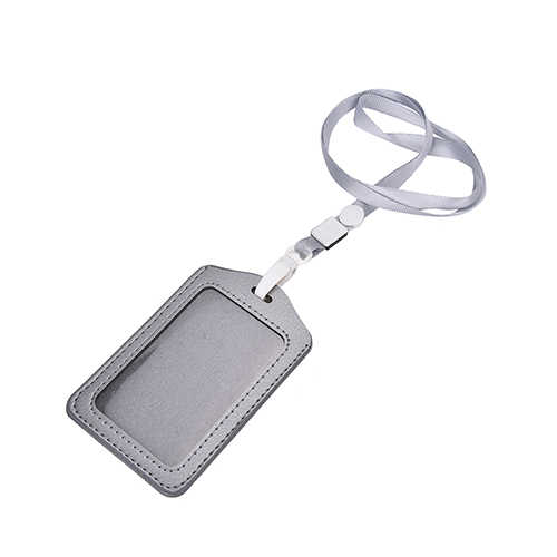 PU Leather Neck Strap Card Holder Bus ID Card Holder Business Card Case with Lanyard Credit Card Cover Metal Credit NFC Holder