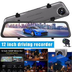 Car Driving Recorder 12 Inch HD Dual Lens Touching Screen Wide Angle Night Vision Parking FKU66