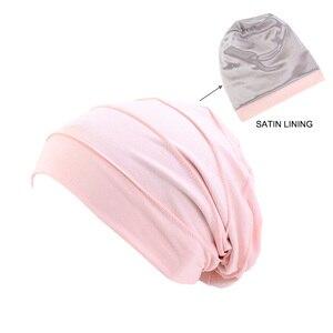 Image 4 - Kobiety miękka pościel satynowa indie kapelusz Stretch czapka do spania muzułmańskie nakrycie głowy z marszczeniami rak kapelusz po chemioterapii czapka szalik Turban chusta na głowę czapka Arab