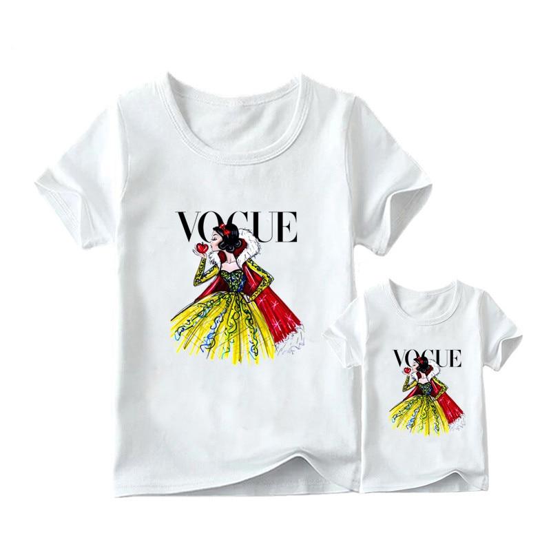 1 предмет, г. Летняя футболка с принтом принцессы в стиле панк модная одежда для мамы и дочки забавная семейная футболка с короткими рукавами - Цвет: 9