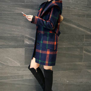 2018 Autumn And Winter New Products England College Style Woolen Jacket Plaid Mid-length