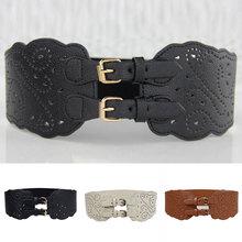 Female Leather Corset Belt Vintage Elastic Wide Waist Belt Adjustable Belt Double Buckle For Women Dress Stretch Waist Belt