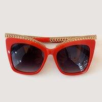 Oversized Women Cat Eye Sunglasses Retro Chain Brand Design Mirror Sunglasses Female UV400