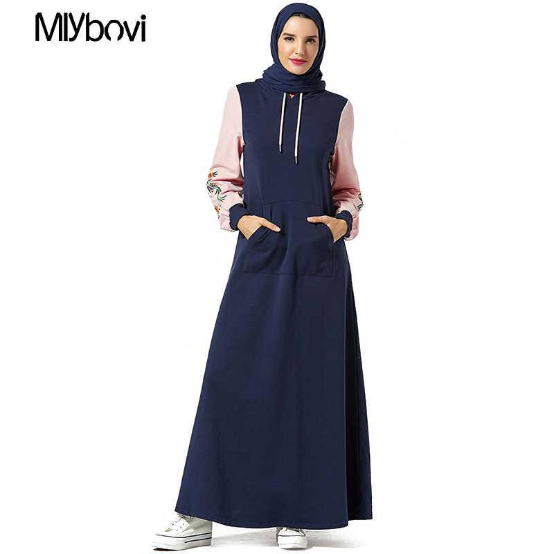 כחול כהה דובאי העבאיה גלימת נשים בתוספת גודל בגדים האסלאמיים קפטן טלאים ארוך שמלה מוסלמית בגדי הסווטשרט Hoofddoek Moslima
