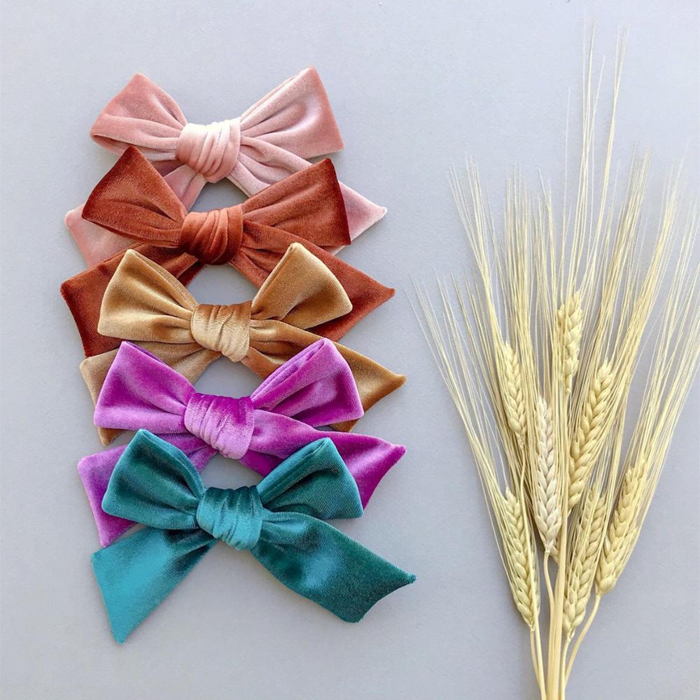 OverSize Plus 5'' Vintage Velvet Fabric Hair Bow Clips Barrettes Baby Kids Girls Hairpins Hair Accessories Headwear