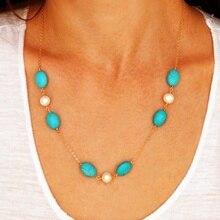Gargantilla de piedras preciosas turquesas verdes Vintage de moda collar de regalo para novia collar Cadena de cobre collares para regalo de joyería