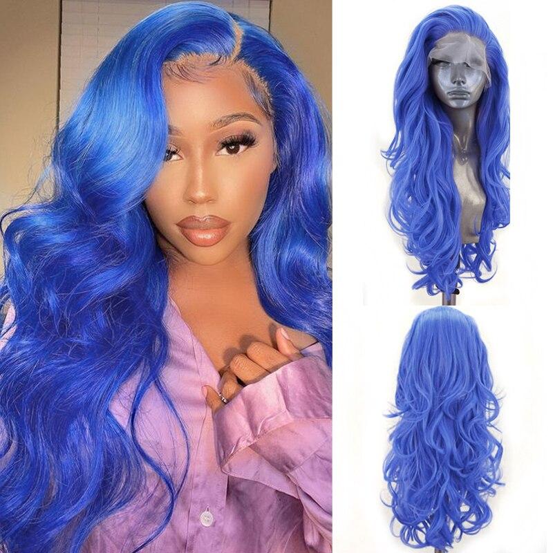 Carisma longo ondulado peruca lado parte dianteira do laço sintético peruca resistente ao calor do cabelo natural linha fina azul perucas para mulheres cosplay perucas