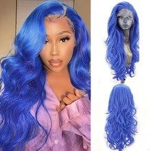 Длинные волнистые парики Charisma, парик с боковой частью из синтетического кружева спереди, термостойкие волосы, натуральные волосы, синие пар...