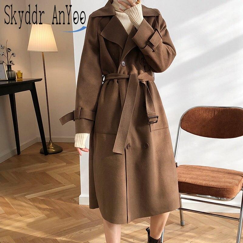 Autmn Women Vintage Woolen Trech Coat Single Breasted Cotton Padded Cashmere Woolen Loose Straight Cardigan Feminine Outwear