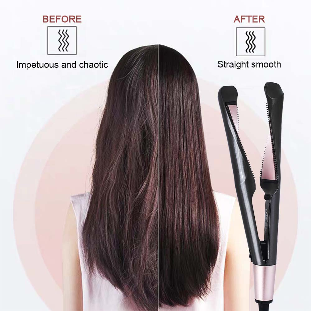 Free shipping 2 in 1 hair curler and straightener Twist curling iron fast barber salon flat irons styler Tourmaline ceramic LED