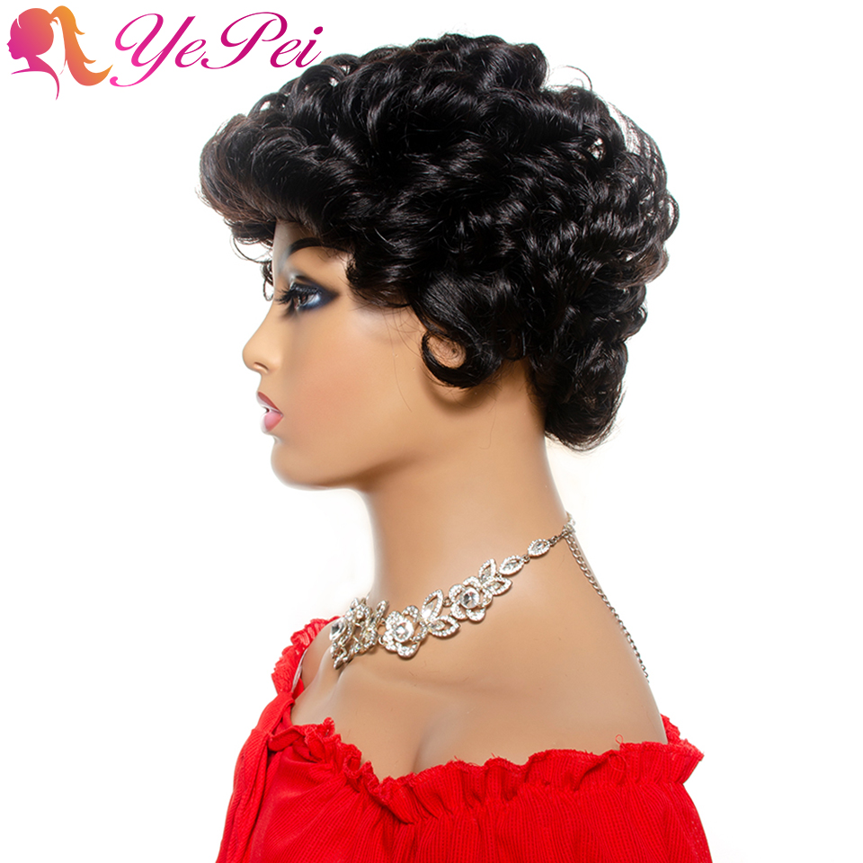 Vintage Wave Short Wig Brazilian Human Hair Full Wigs For Women Glueless Machine Made Wig Natural Color Yepei Remy Hair