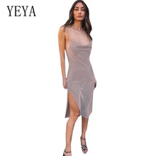 YEYA Fashion Women Solid Spaghetti Straps Backless Sleeveless Dresses Ladies Casual Hollow Out Night Party Sexy Split Dress