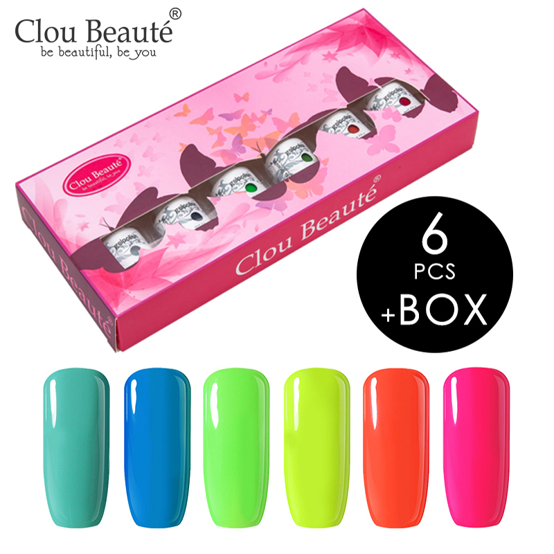 Clou Beaute Set Gift Box Of 6 Pieces Gel Nail Polish 85 Colors Nails Soak Off UV LED Gel Lacquer Manicure Vernis Semi Permanant