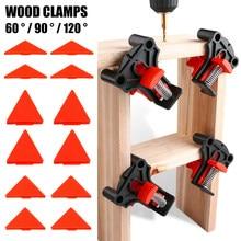 4 pçs de madeira ângulo grampos 60/90/120 graus carpintaria canto clampright clipes diy fixação conjunto de ferramentas manuais para atarraxamento, t juntas, placa