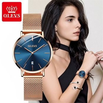 OLEVS watch women rose gold barecelet top brand luxury JAPAN Movement Quartz Ultra thin ladies watch Calendar
