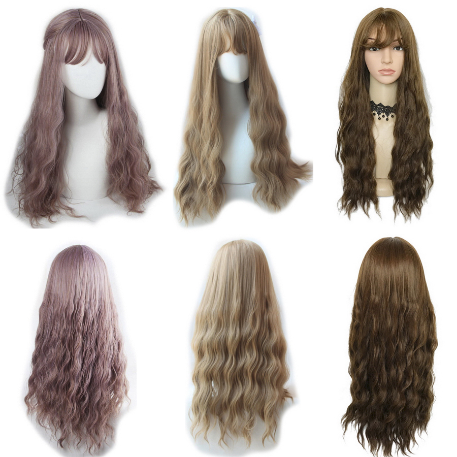 Yiyaobess Wavy Wigs Light Bangs Golden-Wig Synthetic-Hair Heat-Resistant Brown Black