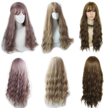 Yiyaobess 65cm Long Wavy Wigs With Bangs Heat Resistant Synthetic Black Linen Brown U Part Harajuku Wig Free Shipping