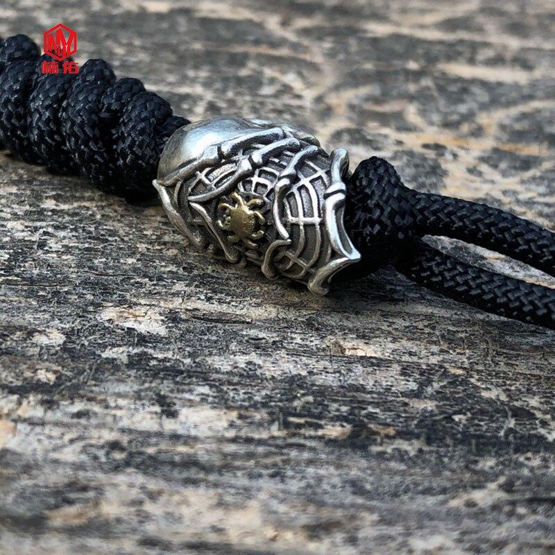 1PC 925 argent fait à la main Alien crâne araignée EDC Paracord perles lanière pendentifs couteau perles parapluie corde cordon perles pendentifs - 2