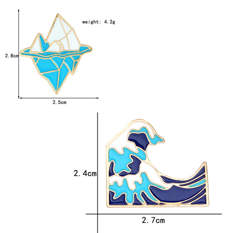 Gaya Laut Pin! Kartun Biru Antartika Gunung Es Gelombang Enamel Bros Hadiah untuk Surfing Penggemar Ikon Ransel Jeans Lencana Perhiasan