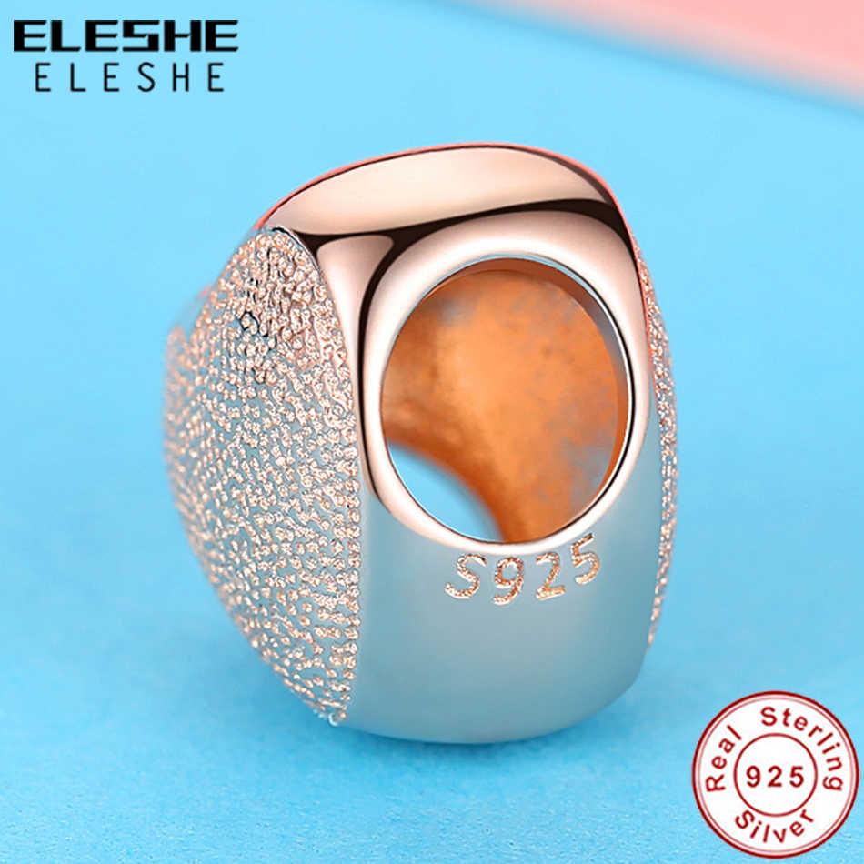 ELESHE romantyczny 925 srebrny koralik urok miłość serce różowe złoto urok pasuje oryginalny urok bransoletka dla kobiet tworzenia biżuterii