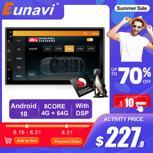 Eunavi 2Din Android 10รถวิทยุเครื่องเล่นมัลติมีเดียUniversal 7 HDหน้าจออัตโนมัติสเตอริโอGPS Navigation Bluetooth AudioVideoผู้เล่น