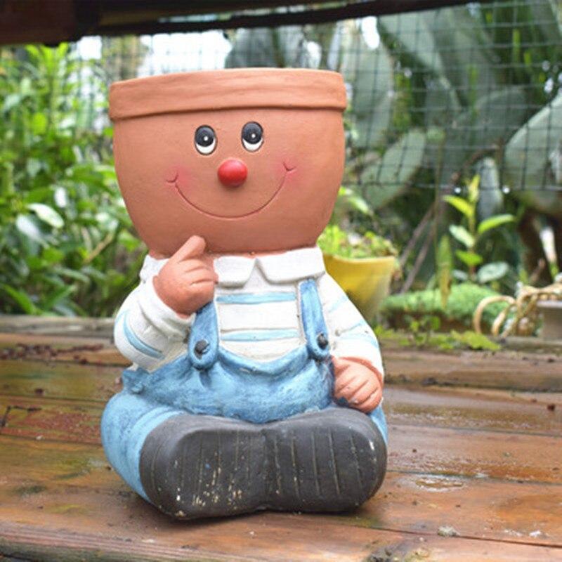 Plein air jardin dessin animé garçon fille charnu Pot de fleur créatif américain plancher maison jardin paysage décoration M2368