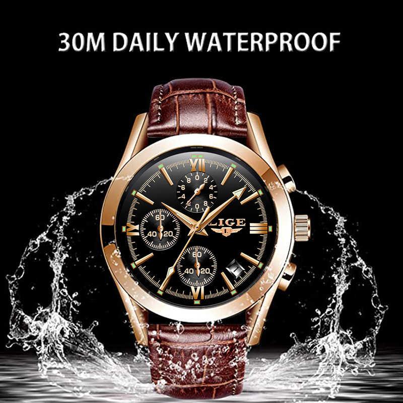 2020 Luik Nieuwe Mode Heren Horloges Topmerk Luxe Militaire Quartz Horloge Premium Lederen Waterdichte Sport Chronograaf Horloge Mannen