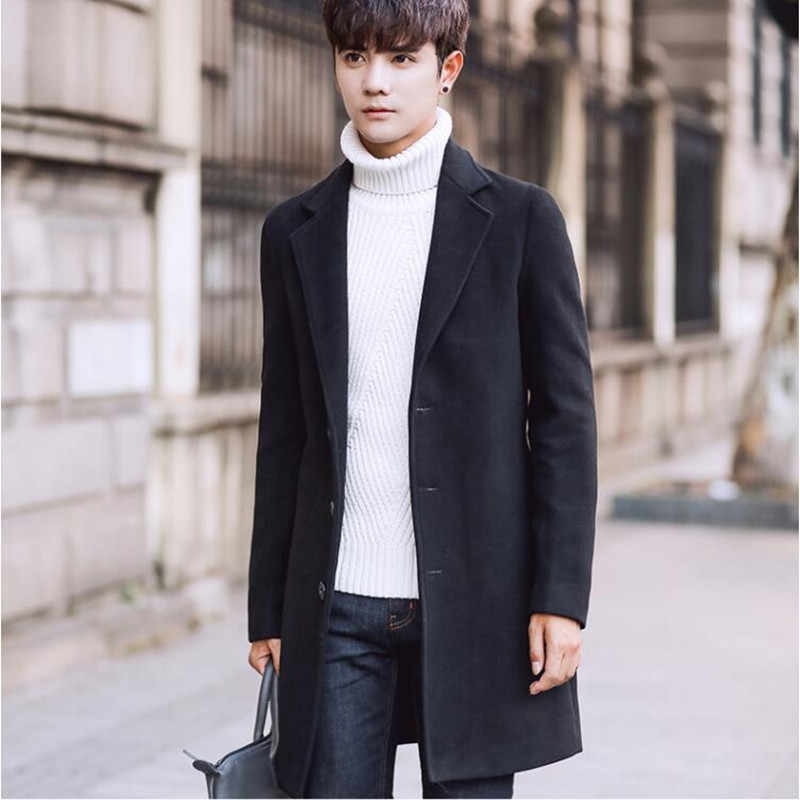 2018 秋と冬の新ファッションブティック無地カジュアルビジネスメンズロングウールコート/メンズグレーロングウールジャケット
